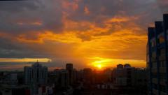 Timelapse of City during warm amazing sunset and beautiful sky Stock Footage