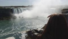 Niagara Falls View From Ontario, Canada With Tourist Arkistovideo