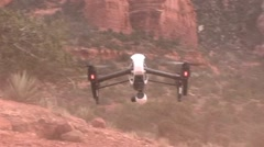 Drone in Sedona flying in wind and dust Stock Footage