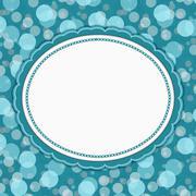 Teal Polka Dot Frame Background - stock illustration
