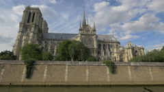 The southern facade of Notre-Dame de Paris Stock Footage