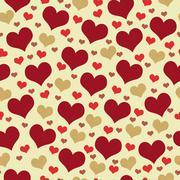 Red and Beige Hearts Tile Pattern Repeat Background - stock illustration