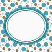 Stock Illustration of Teal, Brown and White Polka Dot Frame Background