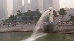 Singapore Merlion CBD business centre Wide Stock Footage