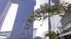 Singapore Marina Bay Sand CBD business centre pan Stock Footage