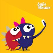 Monster Taking Selfie Photo on Smart Phone - stock illustration