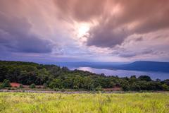 Lam Takong reservoir dam with sunlight - stock photo