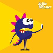 Monster Taking Selfie Photo on Smart Phone Stock Illustration