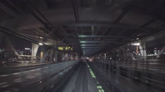 POV real-time ride through Tokyo tunnels via the Yurikamome Stock Footage
