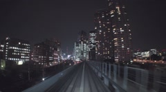 Stock Video Footage of POV real-time ride through Tokyo via the Yurikamome