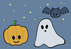 Halloween holiday Pumpkins, ghost and bat - stock illustration