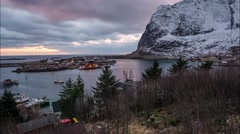 Sunrise 4K Time Lapse Over Reine, Norway Stock Footage