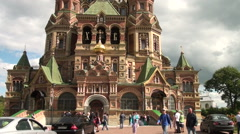 Orthodox Cathedral of Saints Peter and Paul in Peterhof. Stock Footage