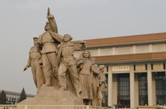 Mausoleum of Mao Zedong and Sculptures - stock photo
