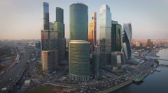 Aerial real time sunset video of Moscow International Business centre. 4K. Stock Footage