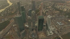 Aerial. The camera freezes over Moscow International Business centre. 4K. - stock footage
