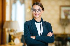 Concept for businesswoman in expensive hotel Stock Photos