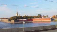 Travel by bus dabldeker in St. Petersburg Stock Footage