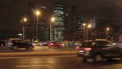 Night view of the traffic on Kutuzov Avenue Stock Footage