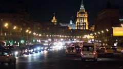 Night view of the traffic on Kutuzov Avenue Stock Footage