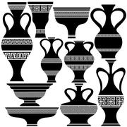 Set of Greek Amphora Silhouettes - stock illustration