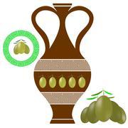 Greek Amphora . Olives Icon on White Background Stock Illustration