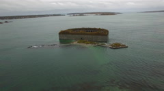 Aerial video Fort Gorges Portland ME 3 Stock Footage