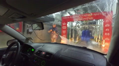 Car Wash. View from Inside. Stock Footage