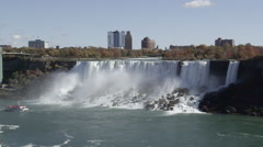 American Falls With Sightseeing Boat At Niagara Falls In Ontario, Canada Arkistovideo