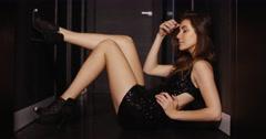 Sensual Girl Posing in Dark Corridor Stock Footage
