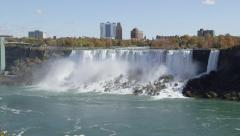 American Falls With Cascading Water At Niagara Falls In Ontario, Canada Stock Footage