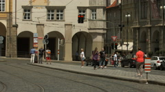 Stock Video Footage of Waiting for tram in Lesser Town Square, Prague