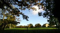 Autumn English Farm view with Oak trees Stock Footage