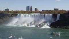 American Falls Bridge And Sightseeing Boat At Niagara Falls In Ontario, Canada Stock Footage
