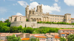 View of Beziers in a spring day timelapse Stock Footage