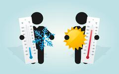 figure man holds thermometer and symbol of the sun and frost - stock illustration