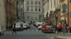 Vintage cars in Lesser Town Square, Prague Stock Footage