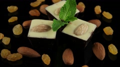handmade chocolate with almonds - stock footage