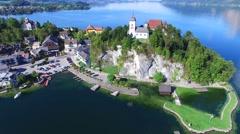 Traunsee lake austria - vacation kurort, recreation, lake, alps Stock Footage