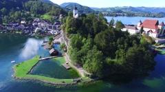 Traunsee lake, Traunkirchen church Stock Footage