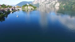 Traunsee, view of Traunstein Stock Footage