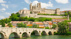View of Beziers in a summer day timelapse Stock Footage