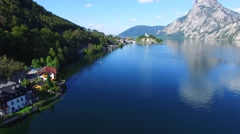 Aerial view Traunsee (Austria). Stock Footage