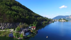 Alpine lake Traunsee Stock Footage