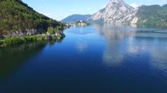 Traunsee summer lake panorama (Austria). Stock Footage