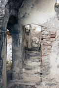 part old ruine from Moura castle - stock photo