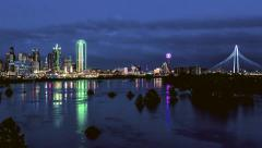 Dallas Skyline river reflections time-lapse Z-in to downtown Stock Footage