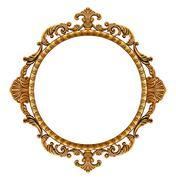 Gold vintage frame isolated on white background Stock Photos