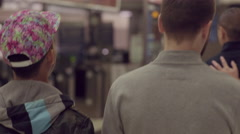 2 Gay Couples Walk In Subway Station In San Francisco Stock Footage