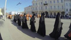 Russian orthodox nuns, walking at traditional religious ceremony, Vladimir Stock Footage
